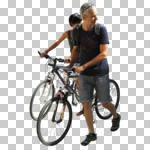 bicycle, casual, caucasian, couple, cutout, cutout couples, cutout people, cycling, day, direct sunlight, eye level view, NA, natural light, people, pushing, summer, summer, sunlight, sunny, sunshine, three-quarter
