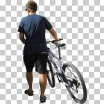 back, bicycle, casual, caucasian, cutout, cutout men, cutout people, cycling, day, eye level view, male, man, NA, natural light, people, pushing, summer, sunlight, sunny, sunshine