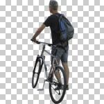 ambient light, back, bicycle, casual, caucasian, cutout, cutout men, cutout people, cycling, day, diffuse, diffused light, eye level view, male, man, NA, natural light, people, pushing, summer, summer