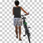 back, bicycle, casual, cutout, cutout people, cutout women, cycling, day, eye level view, female, NA, natural light, people, pushing, summer, summer, sunlight, sunny, sunshine, woman