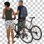 ambient light, back, bicycle, casual, caucasian, couple, cutout, cutout couples, cutout people, cycling, day, diffuse, diffused light, eye level view, NA, natural light, people, standing, summer, summer